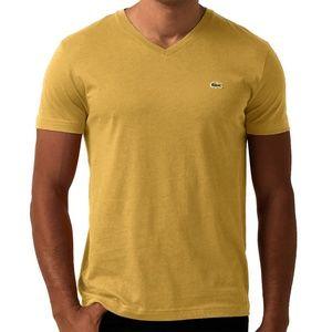 Lacoste Men's Yellow Pima Jersey V-Neck T-Shirt
